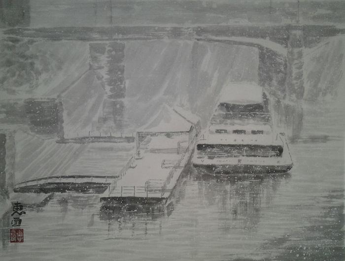 Снег. Вид с моста