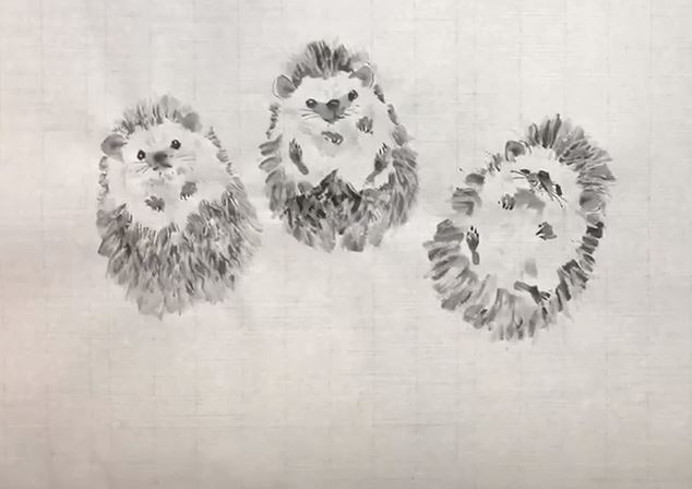 sumi-e hedgehogs